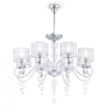 Потолочно-подвесная люстра Maytoni Bubble Dreams MOD603-08-N, 8xE14x40W, хром, прозрачный, стекло, текстиль