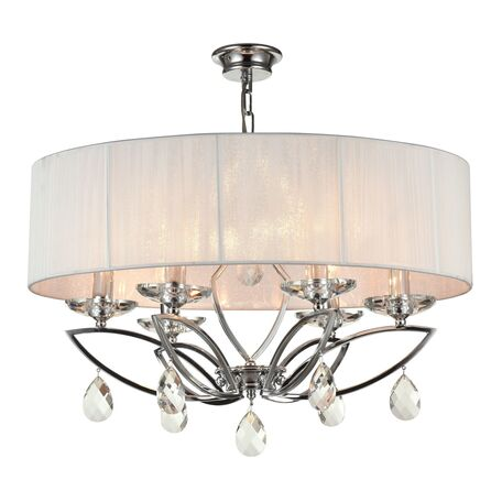 Потолочно-подвесная люстра Maytoni Miraggio MOD602-06-N, 6xE14x40W, хром, белый, прозрачный, металл со стеклом, текстиль, стекло