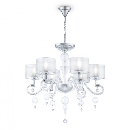 Потолочно-подвесная люстра Maytoni Neoclassic Bubble Dreams MOD603-06-N, 6xE14x40W, хром с прозрачным, прозрачный с хромом, прозрачный, стекло с металлом, текстиль, стекло