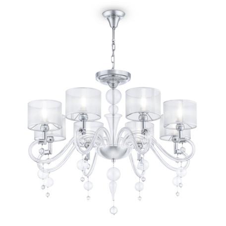 Потолочно-подвесная люстра Maytoni Neoclassic Bubble Dreams MOD603-08-N, 8xE14x40W, хром с прозрачным, прозрачный с хромом, прозрачный, стекло с металлом, текстиль, стекло