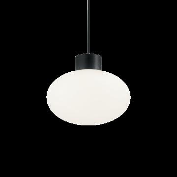 Подвесной светильник Ideal Lux ARMONY SP1 NERO 149493, IP44, 1xE27x60W, черный, белый, металл, пластик