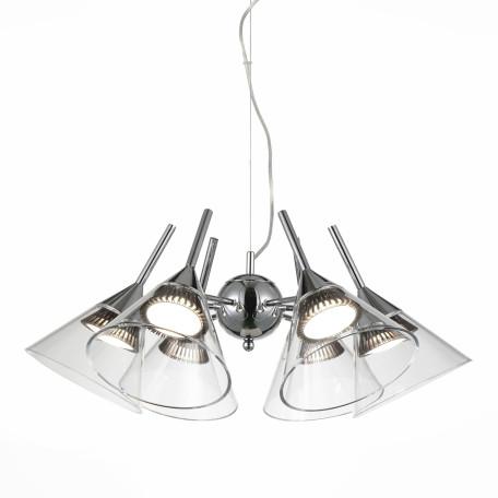Подвесная светодиодная люстра ST Luce Cono SL930.103.06, LED 35W 4000K, хром, прозрачный, металл, пластик