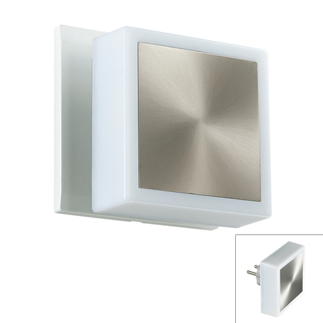 Штекерный светодиодный светильник-ночник Novotech Night Light 357321, LED 1,44W, 3000K (теплый), белый, сталь, пластик