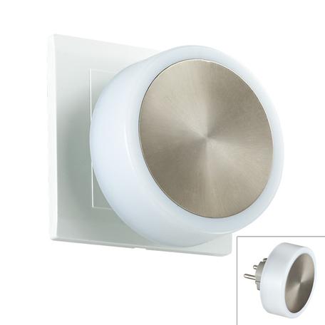 Штекерный светодиодный светильник-ночник Novotech Night Light 357322, LED 1,44W, 3000K (теплый), белый, сталь, пластик