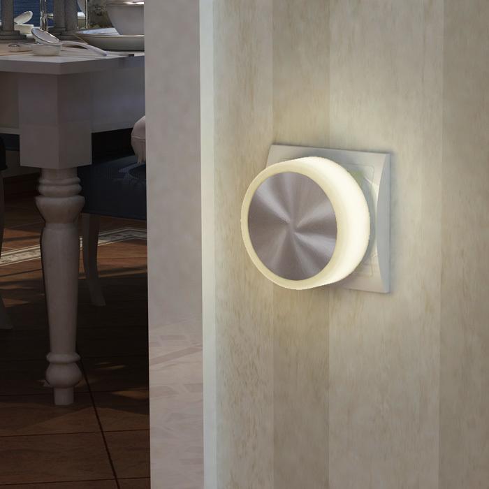 Штекерный светодиодный светильник-ночник Novotech Night Light 357322, LED 1,44W, 3000K (теплый), белый, сталь, пластик - фото 2