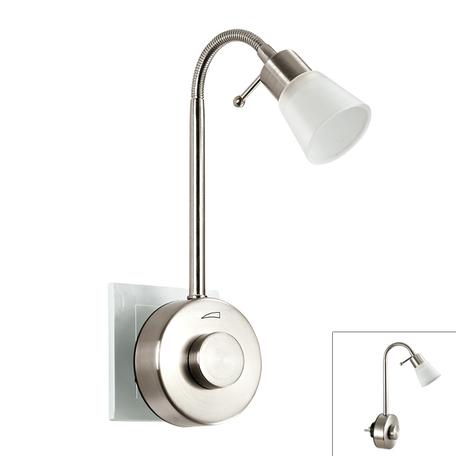 Штекерный светодиодный светильник-ночник Novotech Night Light 357323, LED 1W, 2700K (теплый), никель, белый, металл, пластик, стекло