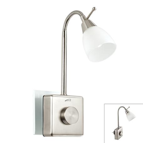 Штекерный светодиодный светильник-ночник Novotech Night Light 357324, LED 1,5W, 2700K (теплый), никель, белый, металл, пластик, стекло