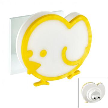 Штекерный светодиодный светильник-ночник Novotech Night Light 357336, LED 0,9W, 3000K (теплый), белый, желтый, пластик