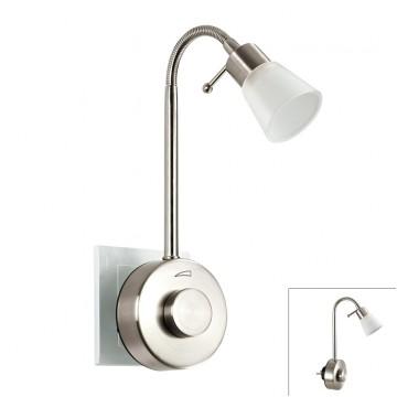 Штекерный светодиодный светильник-ночник Novotech Night Light 357323 2700K (теплый), никель, белый, металл, пластик, стекло