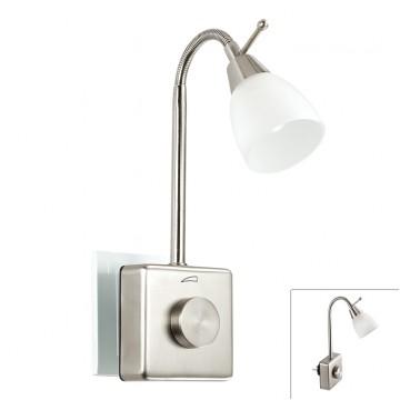 Штекерный светодиодный светильник-ночник Novotech Night Light 357324 2700K (теплый), никель, белый, металл, пластик, стекло
