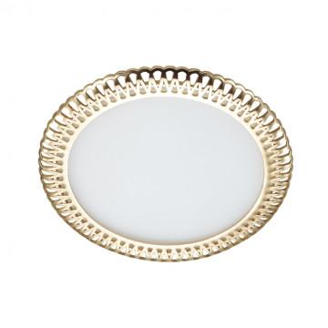 Встраиваемая светодиодная панель Novotech Sade 357369, LED 6W, 3000K (теплый), белый, золото, металл, пластик
