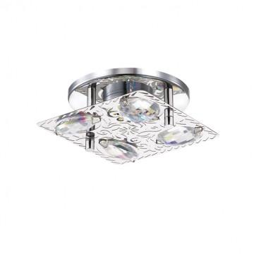 Встраиваемый светодиодный светильник Novotech Mai 357147, LED 3W, 4000K (дневной), хром, прозрачный, металл, металл со стеклом/хрусталем