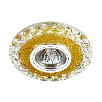 Встраиваемый светильник Novotech Riva 357308, 1xGU5.3x50W + LED, 3500K (дневной), прозрачный, янтарь, металл, стекло, хрусталь