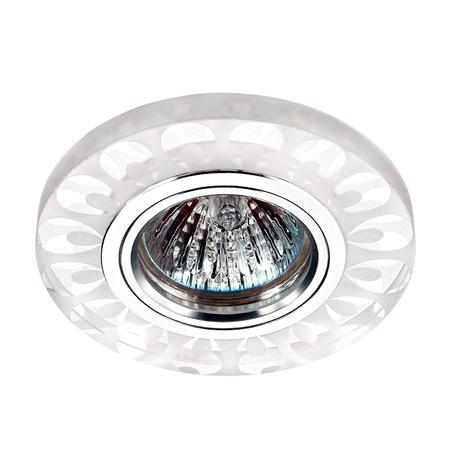 Встраиваемый светильник Novotech Riva 357314, 1xGU5.3x50W + LED, 3500K (дневной), белый, прозрачный, металл, стекло