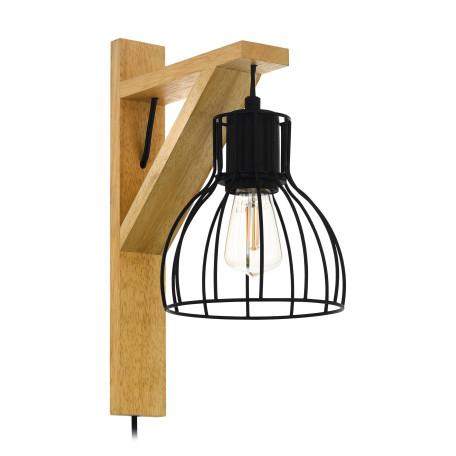 Бра Eglo Rampside 1 43351, 1xE27x40W, коричневый, черный, дерево, металл