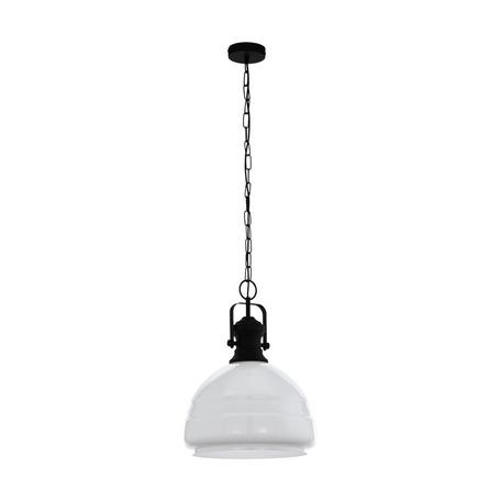 Подвесной светильник Eglo Trend & Vintage Industrial Combwich 1 43302, 1xE27x60W, черный, белый, металл, стекло