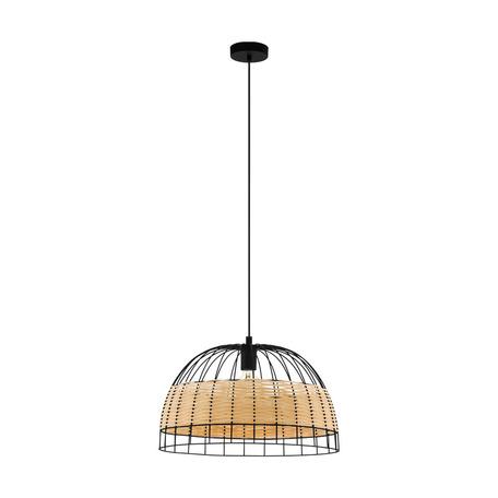 Подвесной светильник Eglo Anwick 43312, 1xE27x40W, черный, бежевый, металл, ротанг
