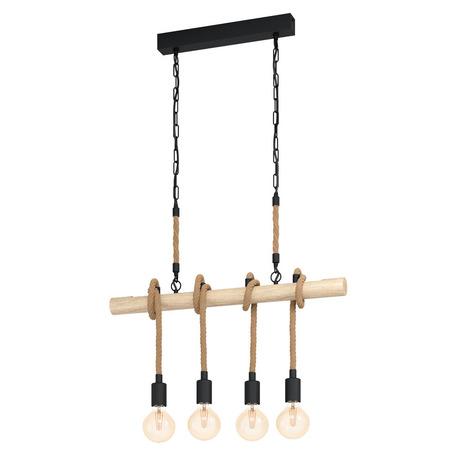 Подвесной светильник Eglo Trend & Vintage Vintage Youngstown 43318, 4xE27x40W, коричневый, дерево, канат