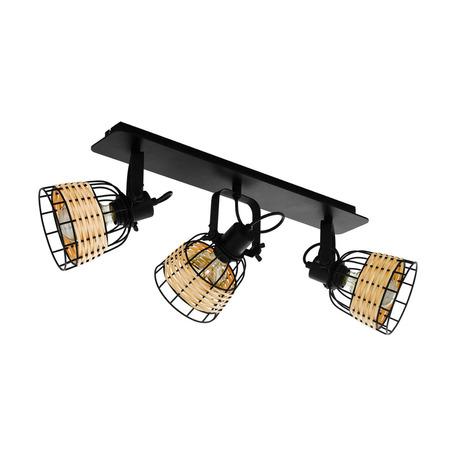 Потолочный светильник с регулировкой направления света Eglo Anwick 1 43326, 3xE27x40W, черный, бежевый, металл, ротанг