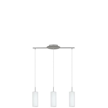 Подвесной светильник Eglo Troy 3 85978, 3xE27x60W, никель, белый, металл, стекло