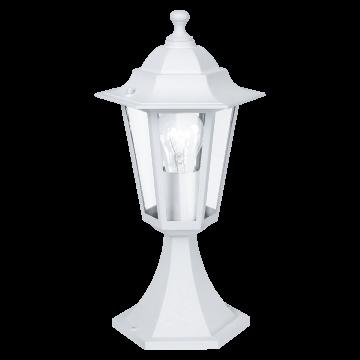 Садово-парковый светильник Eglo Laterna 5 22466, IP44, 1xE27x60W, белый, прозрачный, металл, металл со стеклом/пластиком