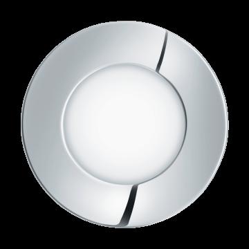Встраиваемая светодиодная панель Eglo Fueva 1 96054, IP44, LED 2,7W 4000K 360lm CRI>80, хром, металл с пластиком, пластик
