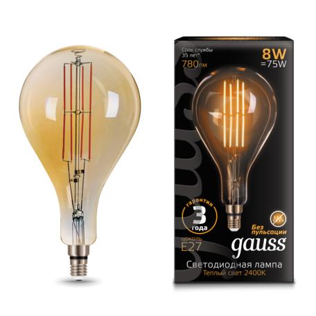 Светодиодная лампа Gauss Filament Oversize 149802008 капля E27 8W, 2400K (теплый) 185-265V, гарантия 3 года