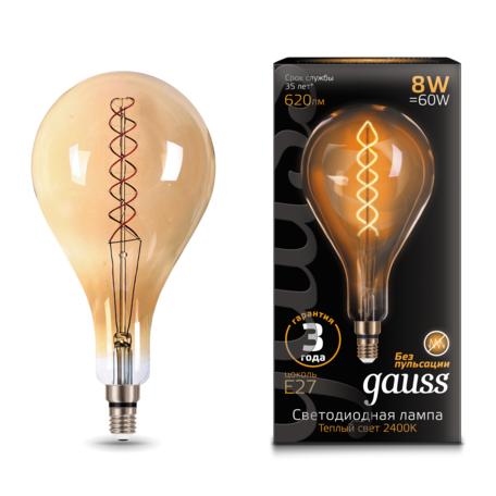 Светодиодная лампа Gauss Filament Oversize 150802008 капля E27 8W, 2400K (теплый) 185-265V, гарантия 3 года