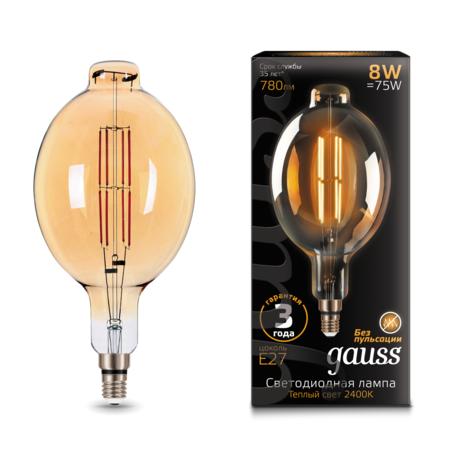 Светодиодная лампа Gauss Filament Oversize 151802008 Bomb E27 8W, 2400K (теплый) 185-265V, гарантия 3 года
