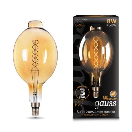 Светодиодная лампа Gauss Filament Oversize 152802008 Bomb E27 8W, 2400K (теплый) 185-265V, гарантия 3 года
