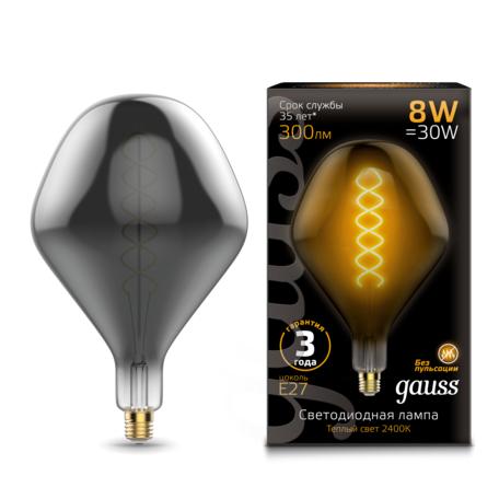 Светодиодная лампа Gauss Filament Oversize 163802008 E27 8W, 2400K (теплый) CRI90 185-265V, гарантия 3 года