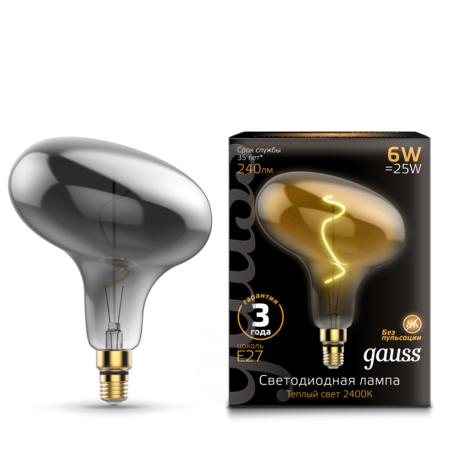 Светодиодная лампа Gauss Filament Oversize 165802008 E27 6W, 2400K (теплый) CRI90 185-265V, гарантия 3 года