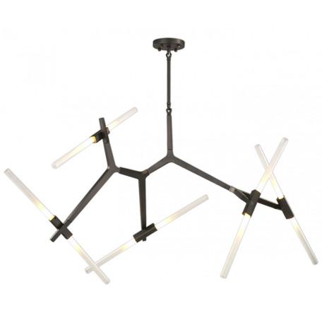 Люстра на составной штанге Kink Light Никс 07531-10,19, 10xG9x5W, черный, белый, черно-белый, металл, стекло