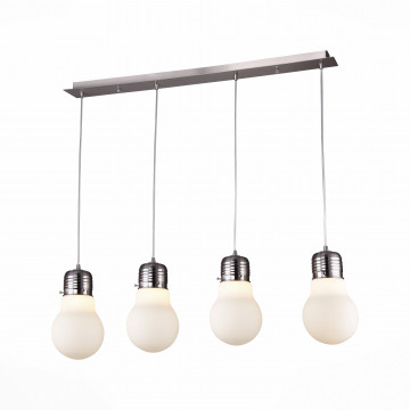 Подвесной светильник ST Luce Buld SL299.503.04, 4xE27x60W, никель, белый, металл, стекло