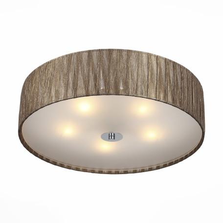 Потолочный светильник ST Luce Rondella SL357.702.05, 5xE14x40W, хром, коричневый, металл, текстиль