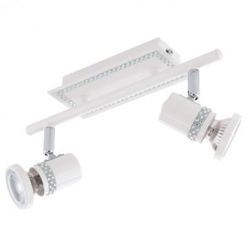 Потолочный светильник с регулировкой направления света Eglo Bonares 94283, 2xGU10x3,3W, белый, прозрачный, металл, хрусталь