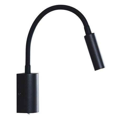 Настенный светодиодный светильник с регулировкой направления света Loft It Stick 10009BK, LED 3W 3200K, черный, металл