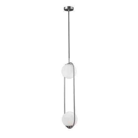 Подвесной светильник Loft It Glob LOFT2601-B, 2xE27x40W, никель, белый, металл, стекло