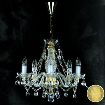 Подвесная люстра Artglass MAGDA V. FULL CUT CE - 3003, 5xE14x40W, белый, золото, прозрачный, желтый, стекло, хрусталь Artglass Crystal Exclusive