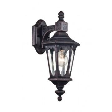 Настенный фонарь Maytoni Oxford S101-42-01-B, IP44, 1xE27x60W, черный, прозрачный, металл, металл со стеклом