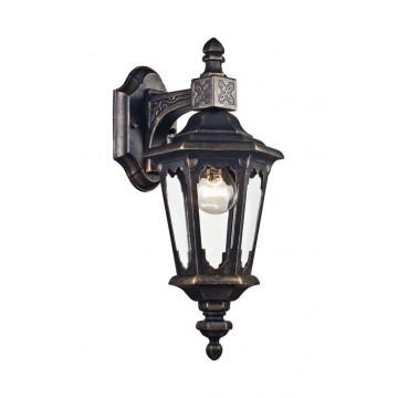 Настенный фонарь Maytoni Oxford S101-42-01-R, IP44, 1xE27x60W, черный с золотой патиной, прозрачный, металл, металл со стеклом