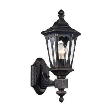 Настенный фонарь Maytoni Oxford S101-42-11-R, IP44, 1xE27x60W, черный с золотой патиной, прозрачный, металл, стекло
