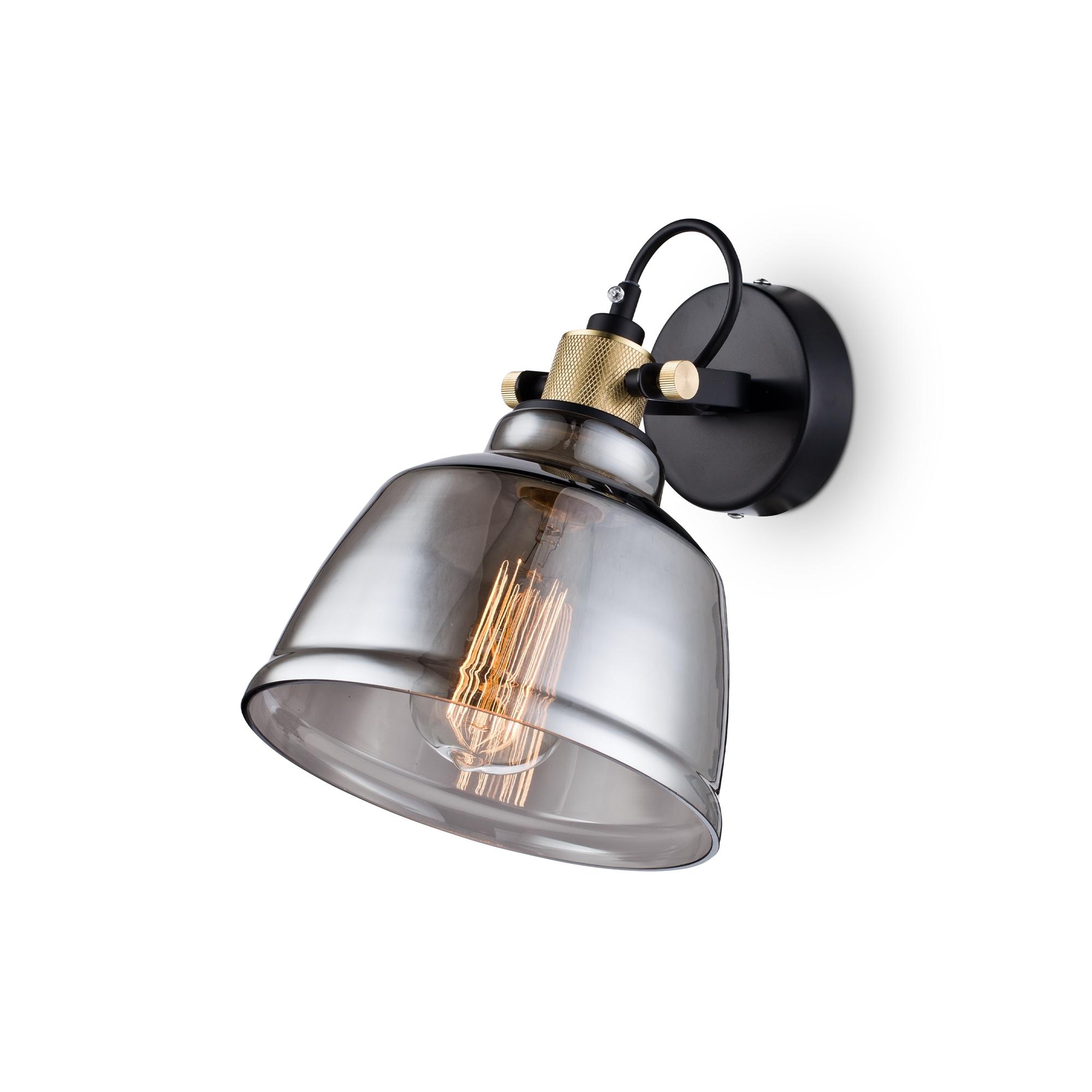 Настенный светильник с регулировкой направления света Maytoni Modern Irving T163-01-C, 1xE27x40W, черный, дымчатый, металл, стекло - фото 1