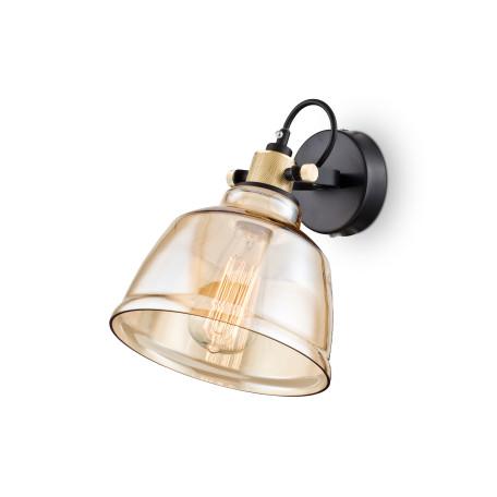 Настенный светильник с регулировкой направления света Maytoni Modern Irving T163-01-R, 1xE27x40W, черный, янтарь, металл, стекло