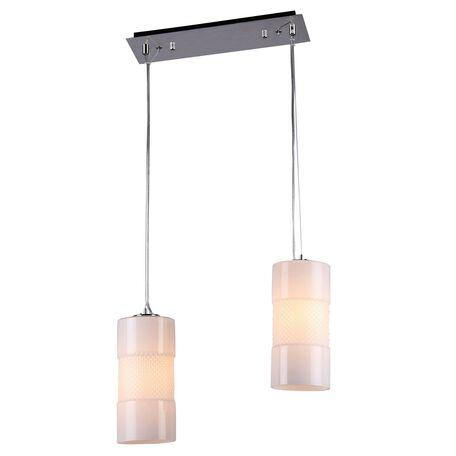 Подвесной светильник Maytoni Alcor F011-22-W, 2xE14x60W, никель, белый, металл, стекло