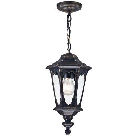 Подвесной светильник Maytoni Oxford S101-10-41-R, IP44, 1xE27x60W, черный с золотой патиной, прозрачный, металл, стекло