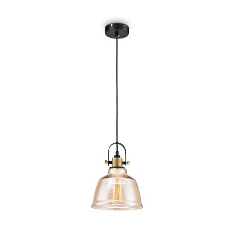 Подвесной светильник Maytoni Modern Irving T163-11-R, 1xE27x40W, черный, янтарь, металл, стекло