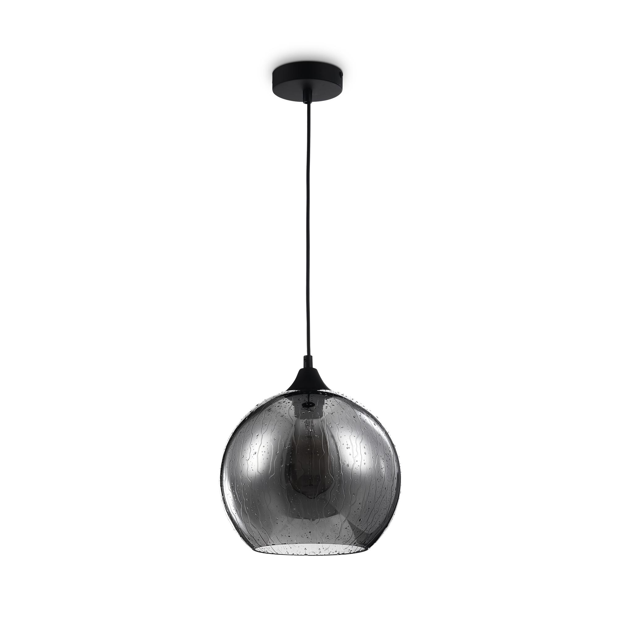 Подвесной светильник Maytoni Bergen T314-11-B, 1xE27x60W, черный, дымчатый, металл, стекло - фото 1