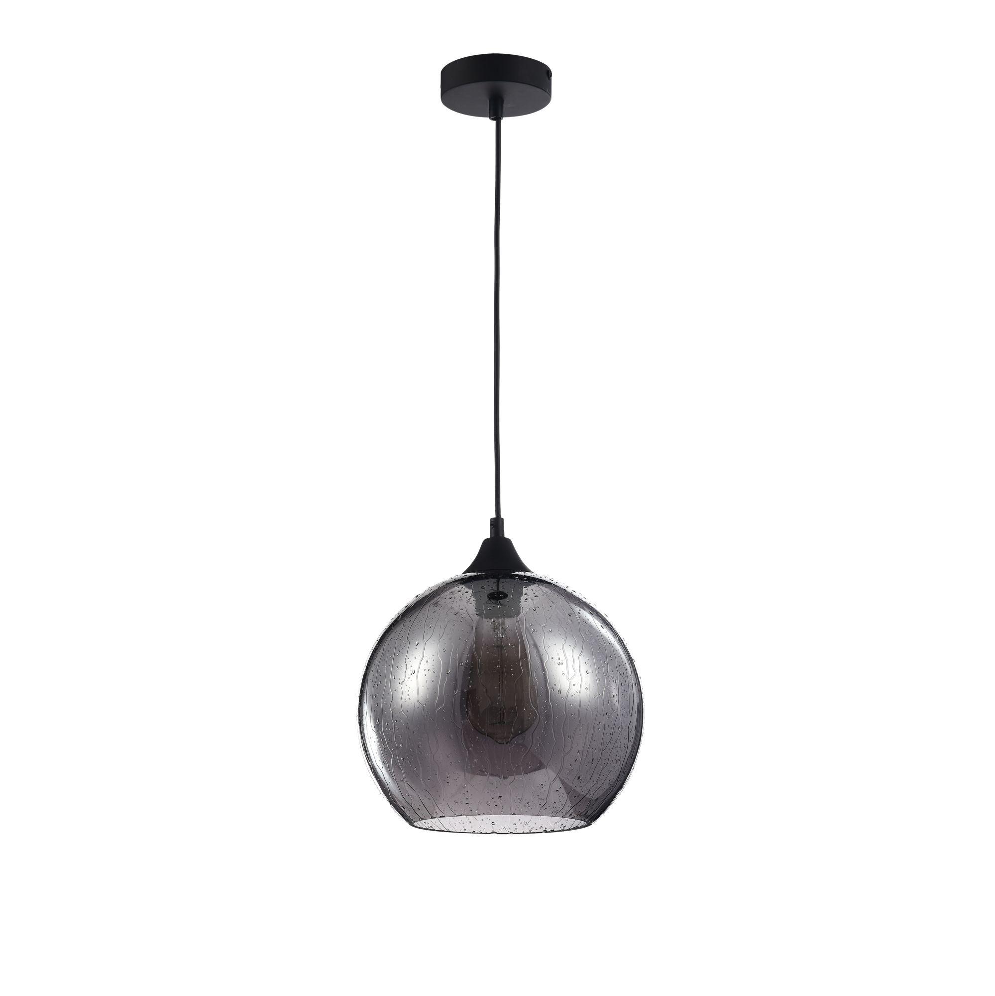 Подвесной светильник Maytoni Bergen T314-11-B, 1xE27x60W, черный, дымчатый, металл, стекло - фото 2