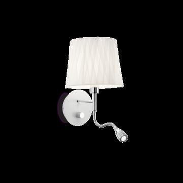 Бра с дополнительной подсветкой Ideal Lux EFFETTI AP2 132976, 1xE14x40W + LED 1W 3000K 72lm, хром, белый, металл, текстиль